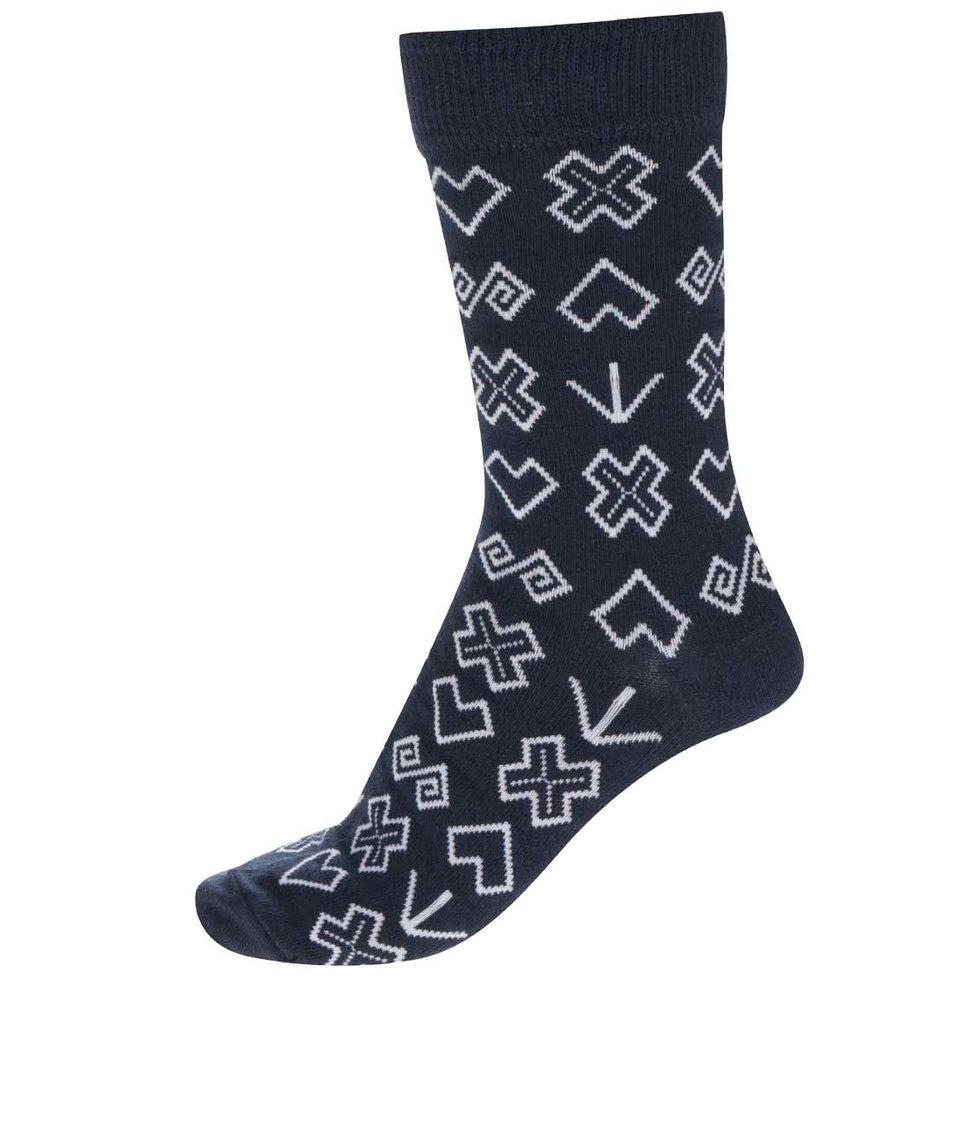 Modré pánské vzorované ponožky Puojd Šampiónky