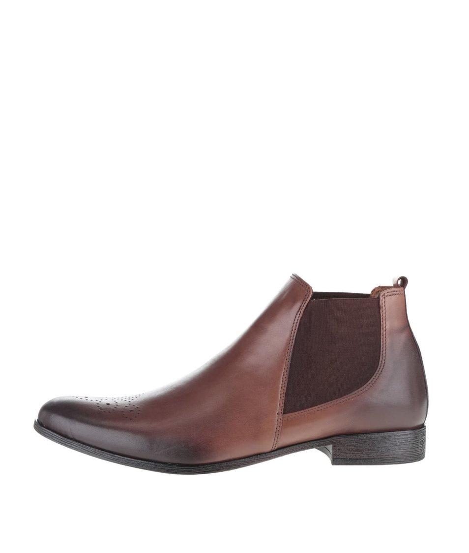 Hnědé pánské kožené chelsea boty OJJU