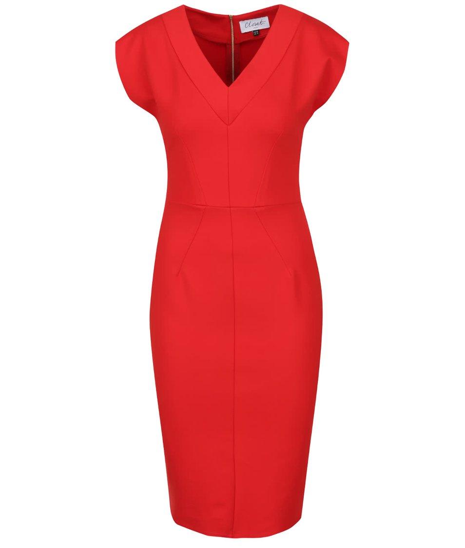 Červené pouzdrové šaty s véčkovým výstřihem Closet