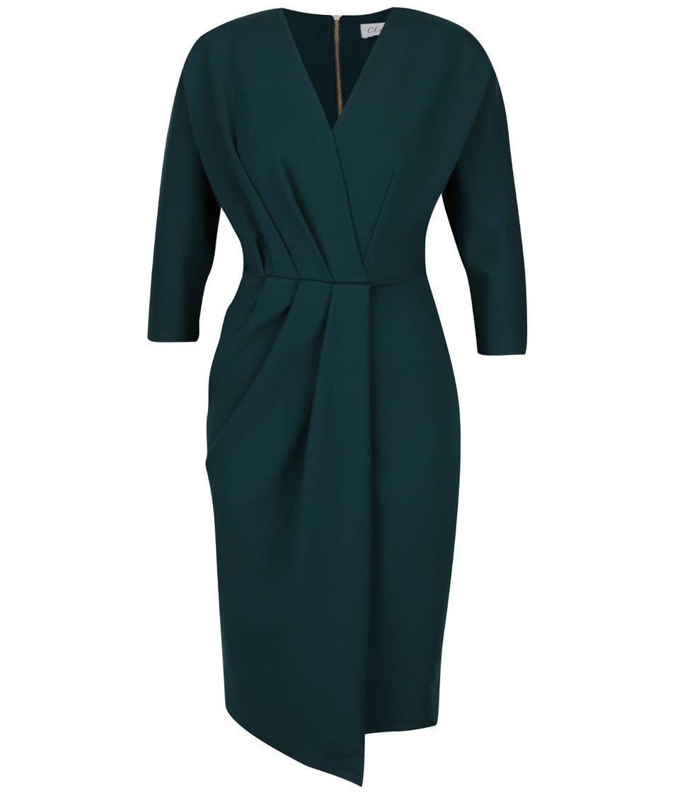 Tmavě zelené šaty s překládaným topem 3 4 rukávy Closet cdcd2ee6ff