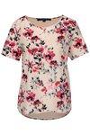 Bluza asimetrica roz deschis cu print floral French Connection Linosa