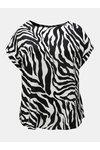 Bílo-černé vzorované tričko se zipem na zádech Dorothy Perkins Curve