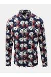 Tmavomodrá slim fit košeľa s motívom snehuliakov ONLY & SONS Funny Christmas