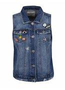 Modrá džínová vesta s plastovými odznaky TALLY WEiJL