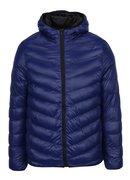 Modrá lesklá prošívaná bunda s kapucí Burton Menswear London