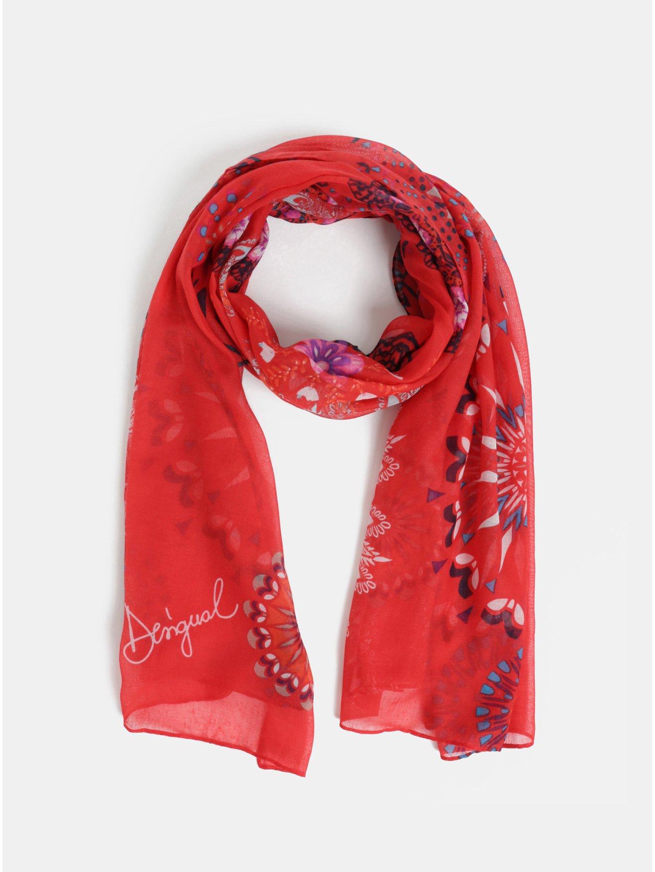 Červený vzorovaný šátek Desigual Mandala