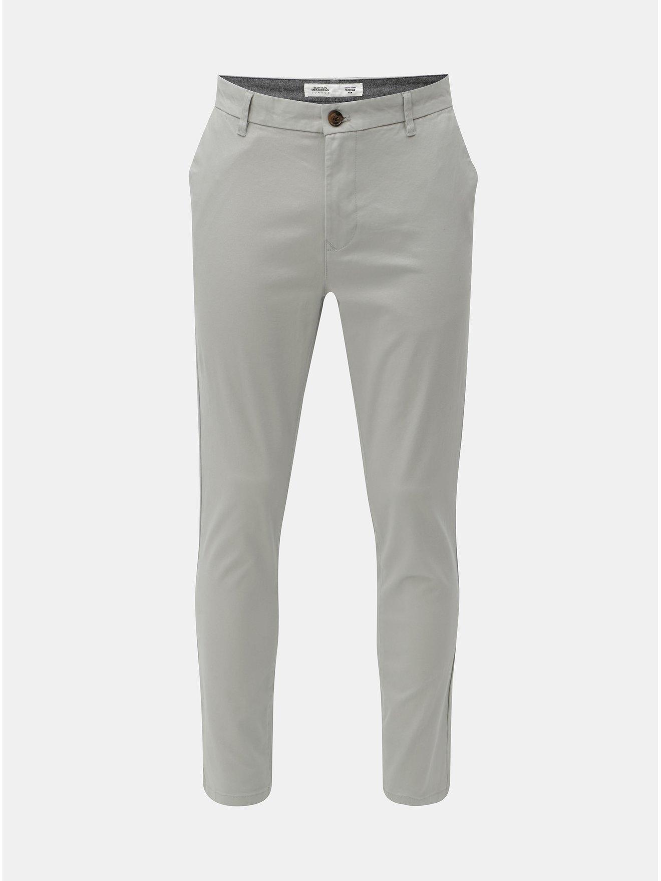 Šedé chino kalhoty Burton Menswear London