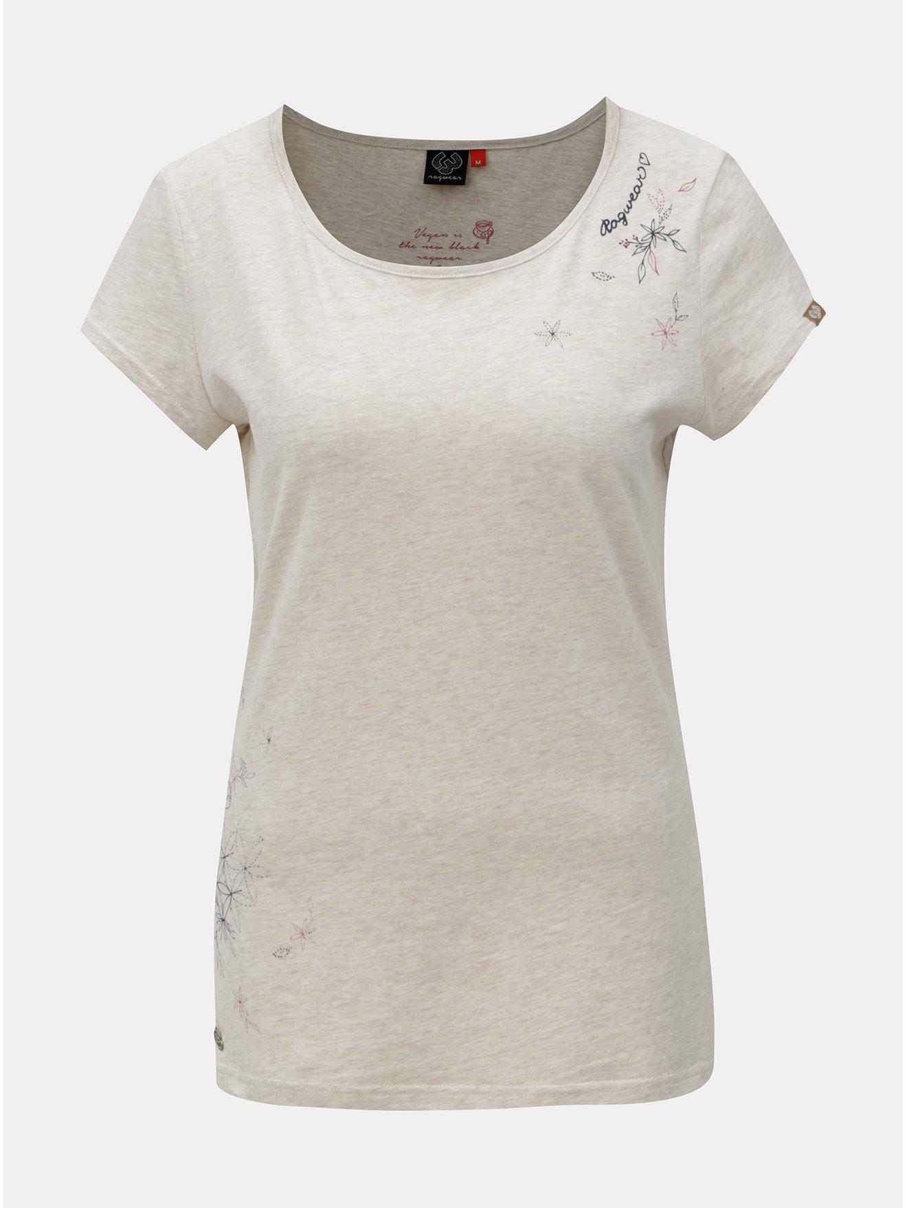Šedé dámské žíhané tričko s potiskem Ragwear edb22cf891