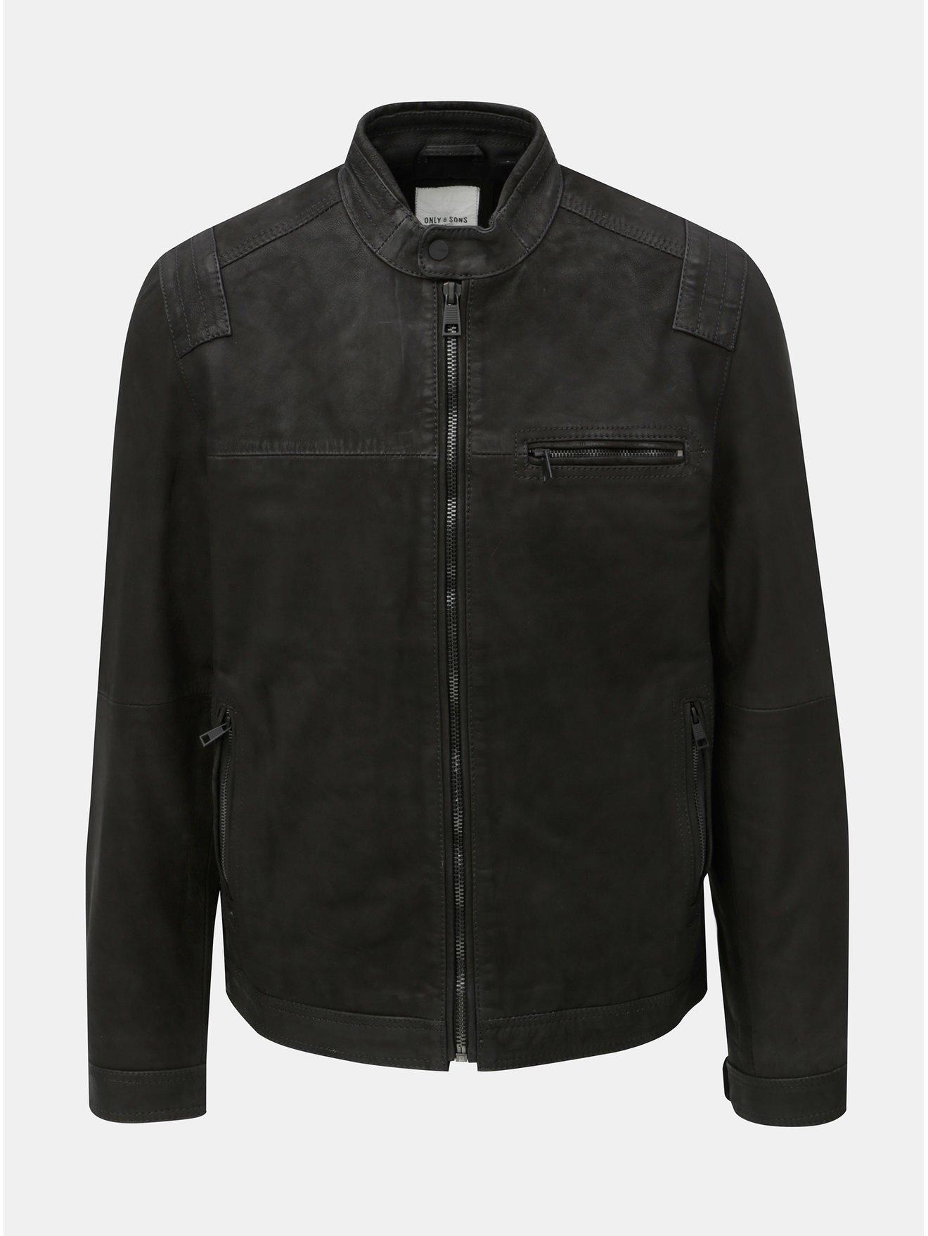 Černá kožená bunda ONLY & SONS Sander