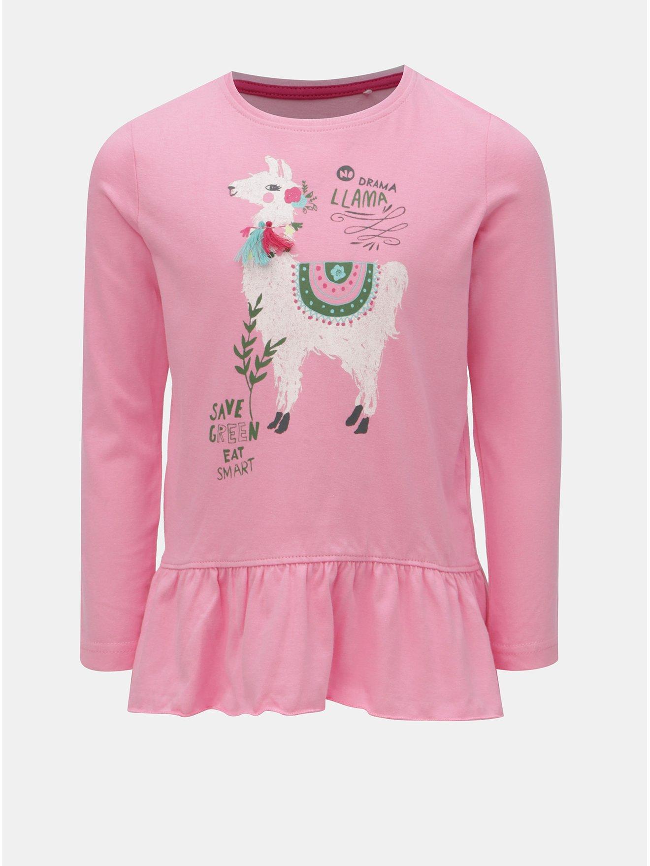 Ružové dievčenské tričko s potlačou lamy Blue Seven f00f42bb729