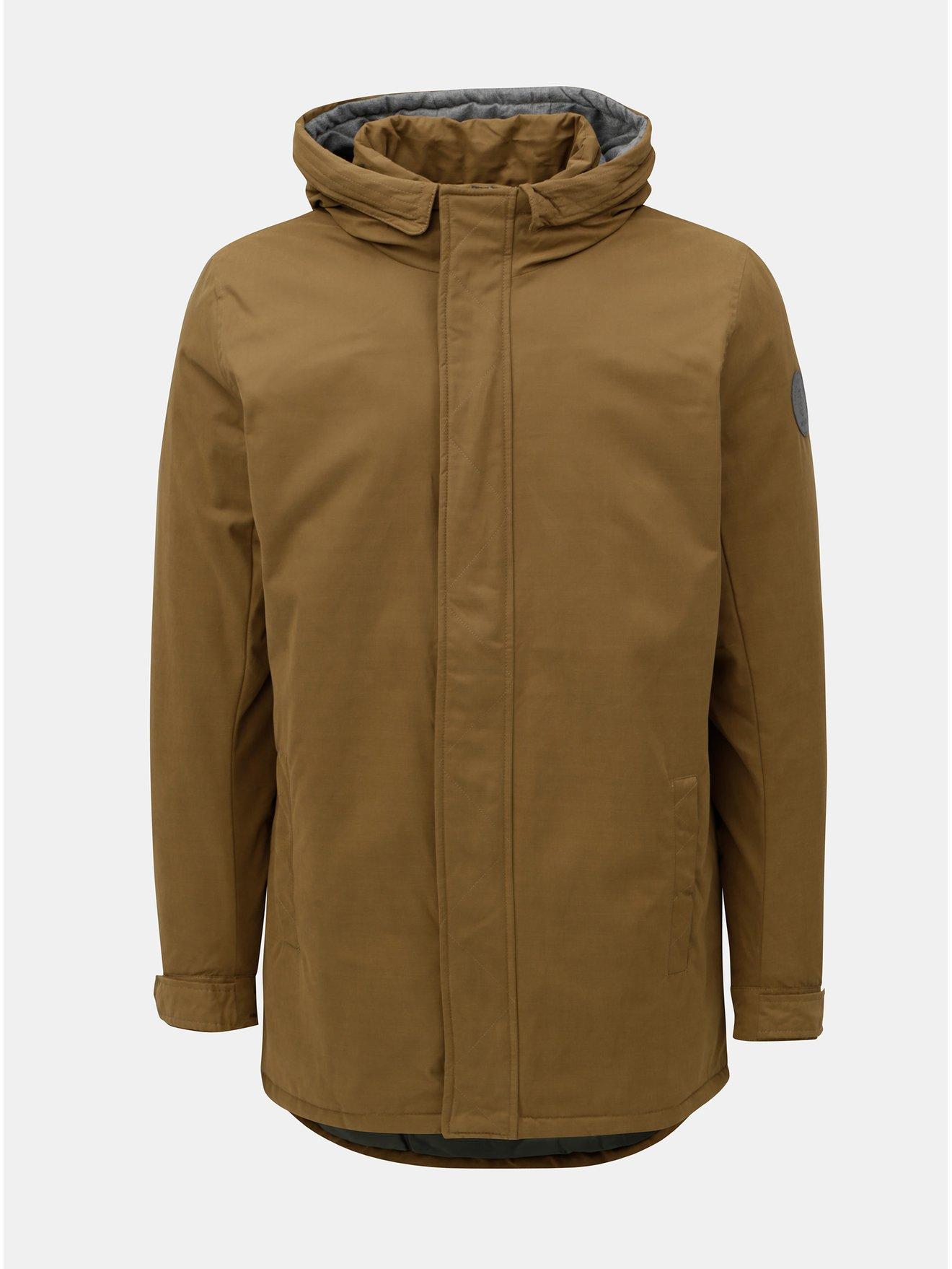 Hnědá zimní bunda s kapucí ONLY & SONS Than