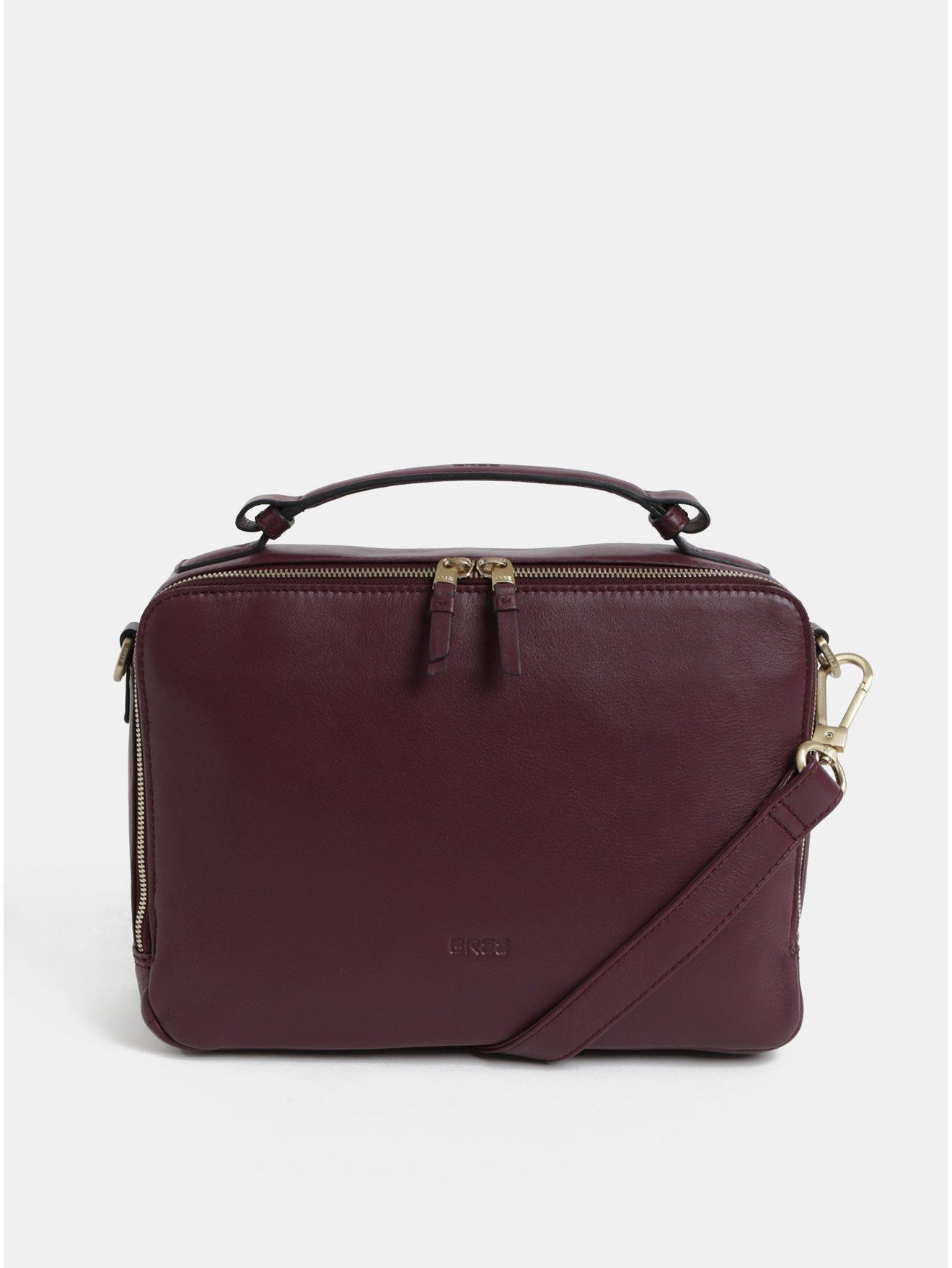 Vínová kožené kabelka s odnímatelným popruhem BREE Nieva 2