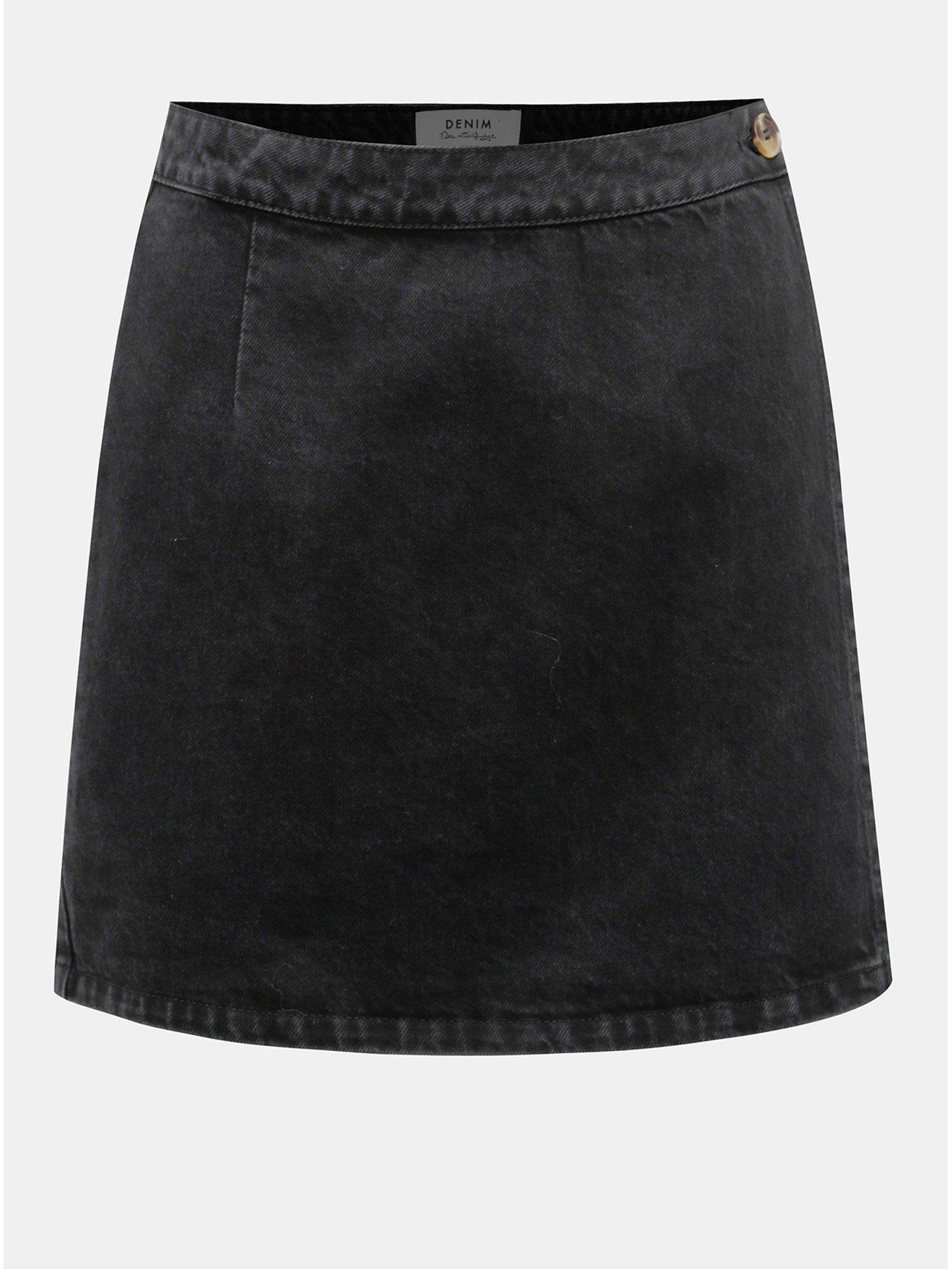 Černá džínová zavinovací sukně Miss Selfridge