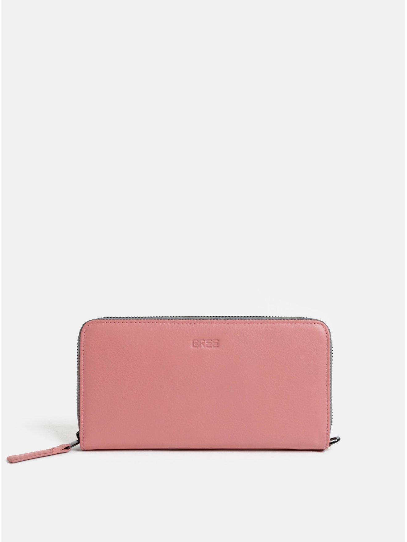 Růžová kožená velká peněženka BREE Issy 131