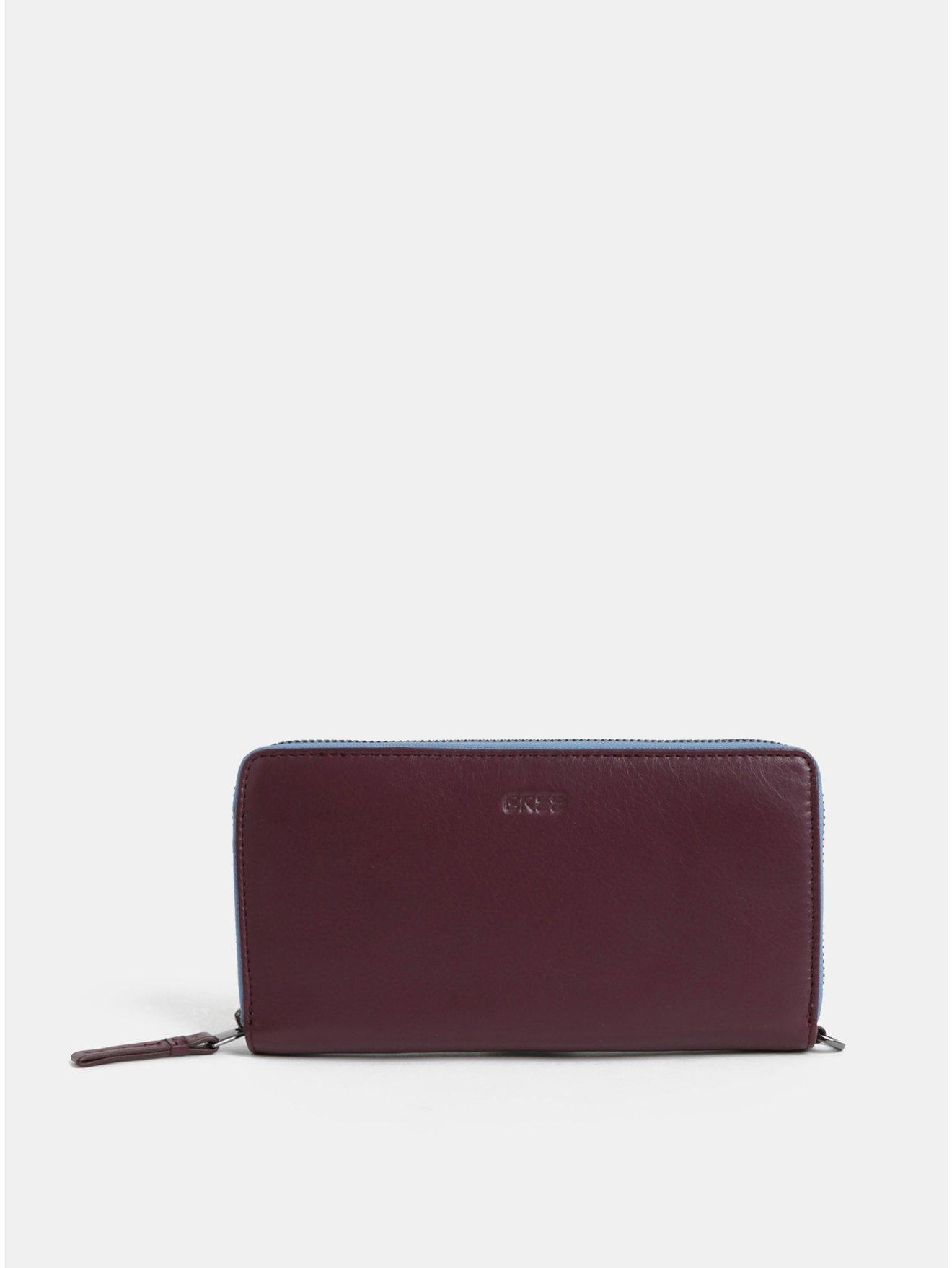 Vínová kožená velká peněženka BREE Issy 131