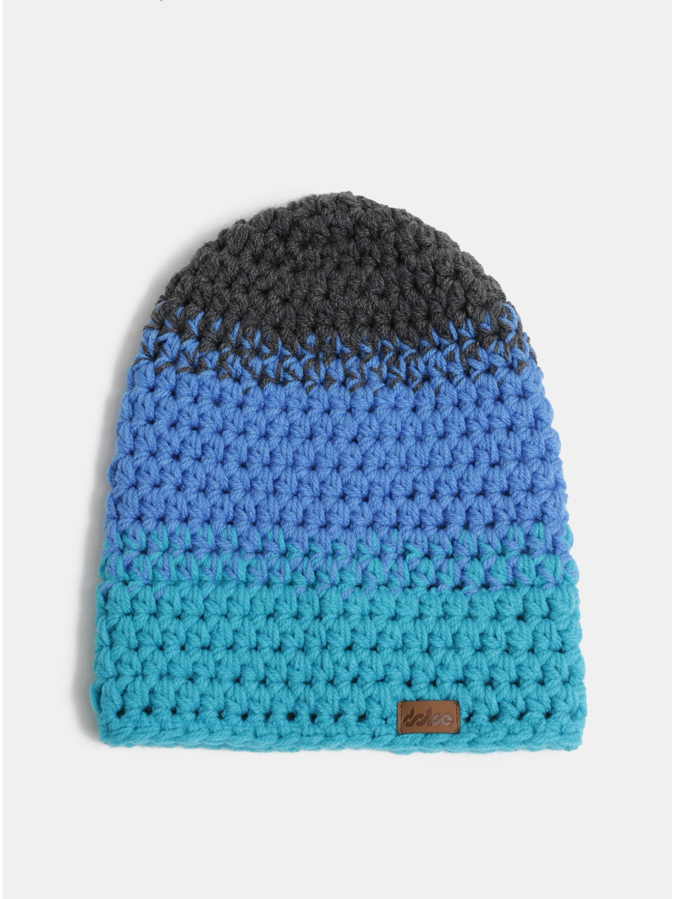 Fotografie Šedo-modrá pletená zimní čepice DOKE