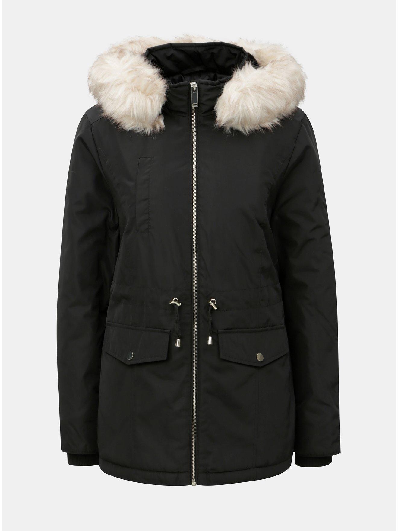 Černá zimní parka s odnímatelným umělým kožíškem Miss Selfridge