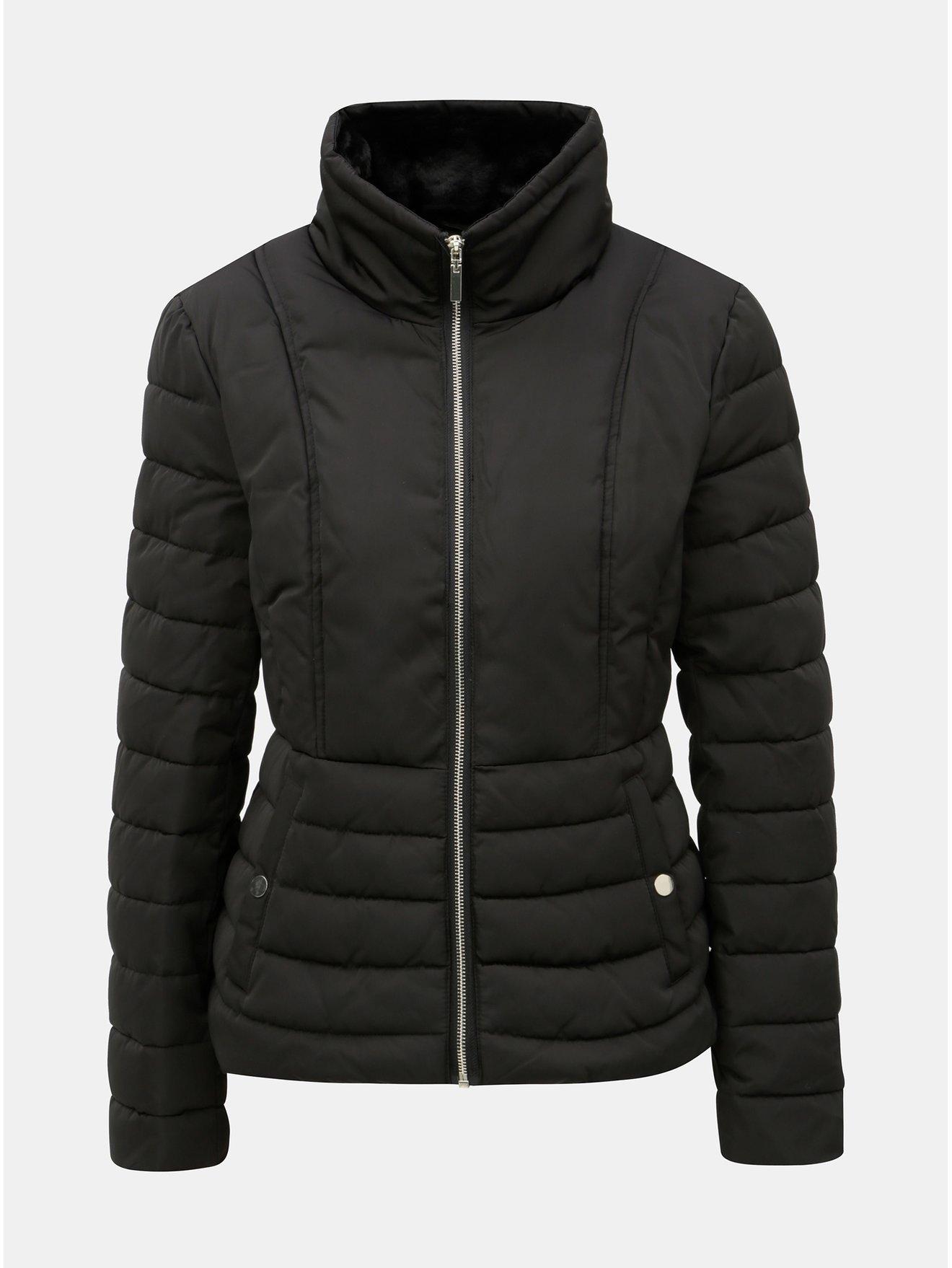 Čierna prešívaná zimná bunda s vysokým golierom Miss Selfridge b88a408749a