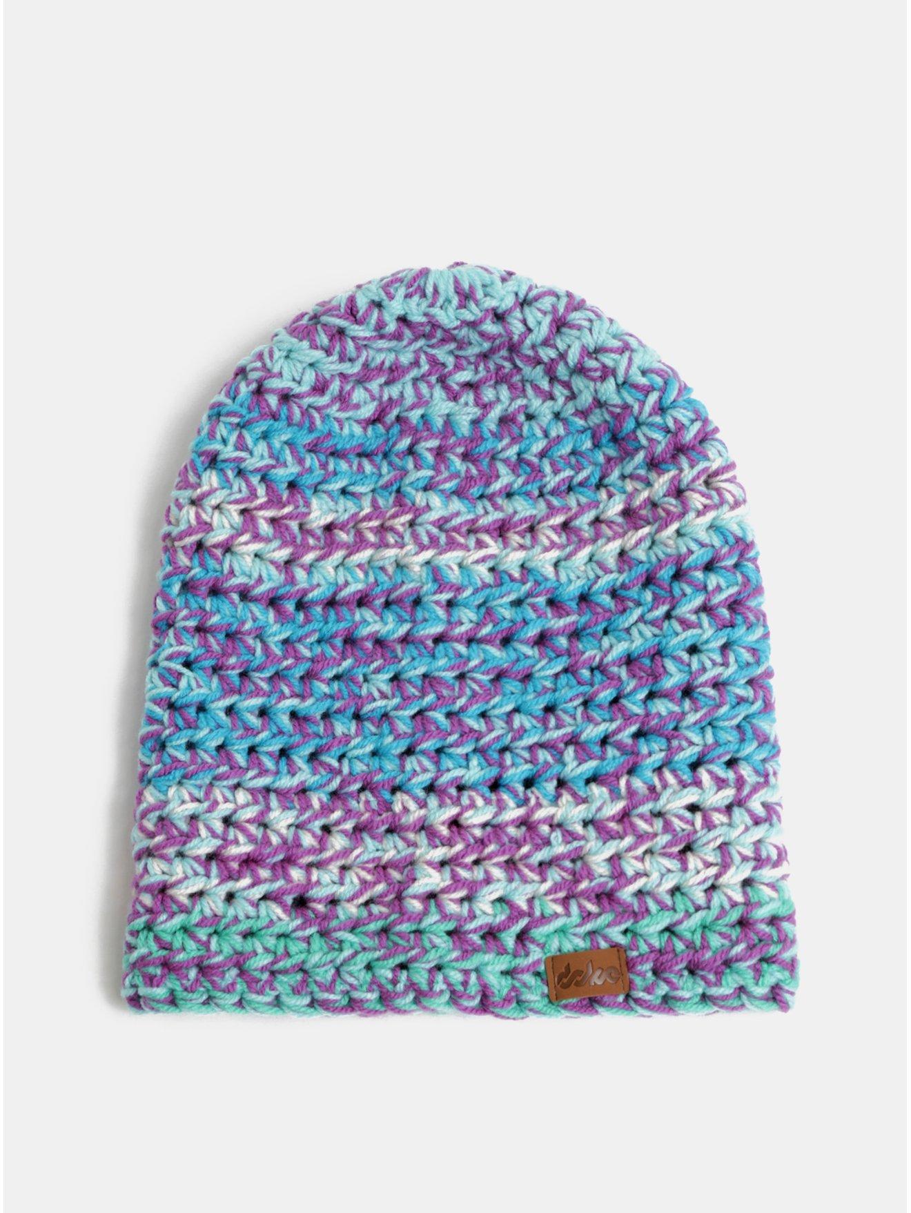 Fialovo-modrá pletená zimní čepice DOKE