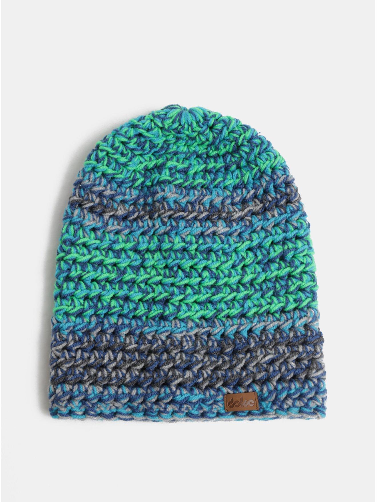 Zeleno-modrá zimní pletená čepice DOKE
