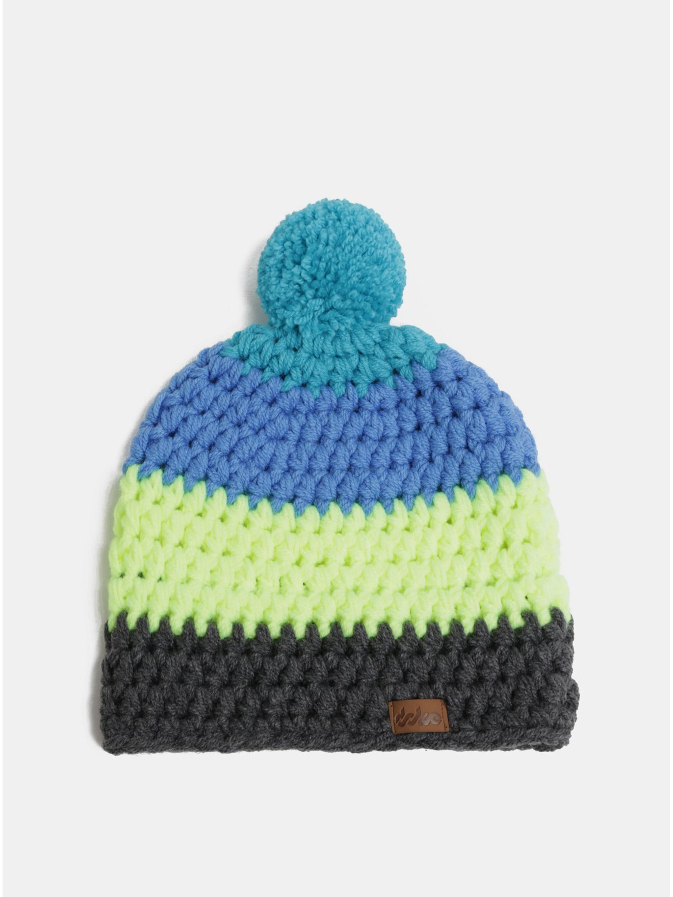Šedo-modrá zimní pletená čepice s bambulí DOKE 8b7126bfa7