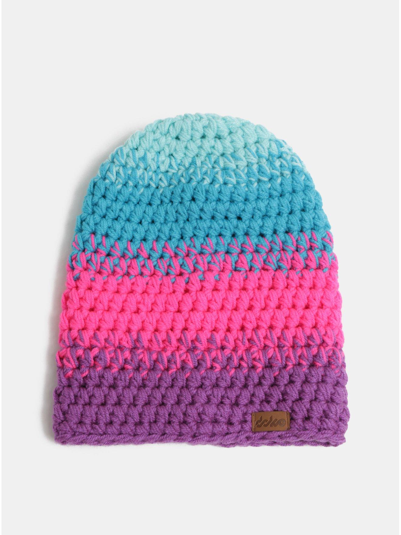 Modro–ružová pletená zimná čiapka DOKE
