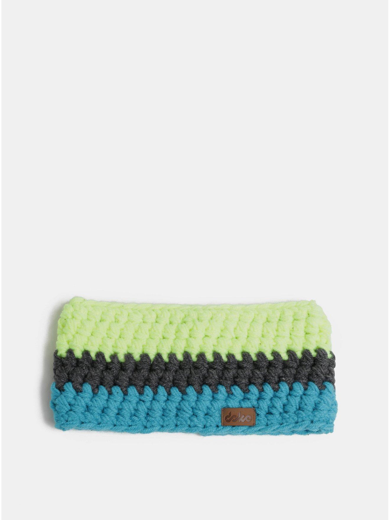 Zeleno-modrá pletená zimní čelenka DOKE 8715ee35a4