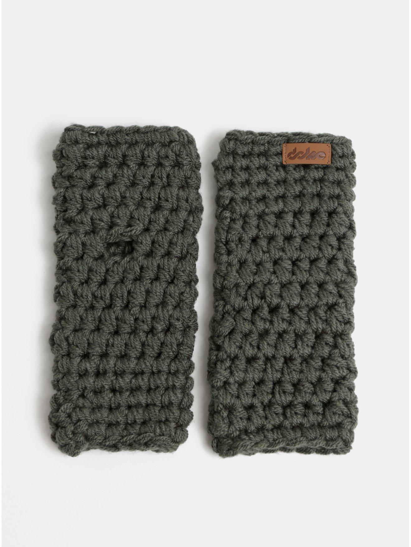 Tmavě šedé pletené návleky na ruce DOKE