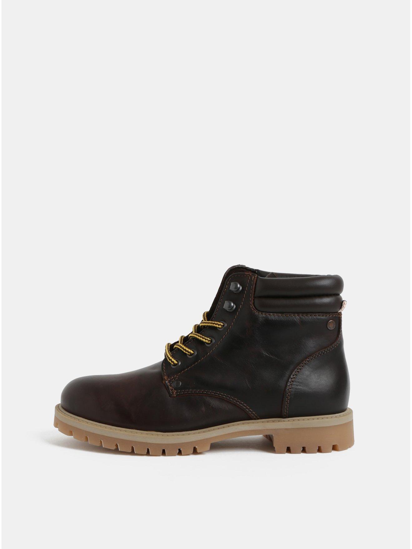Tmavě hnědé pánské kožené kotníkové boty Jack & Jones Stoke
