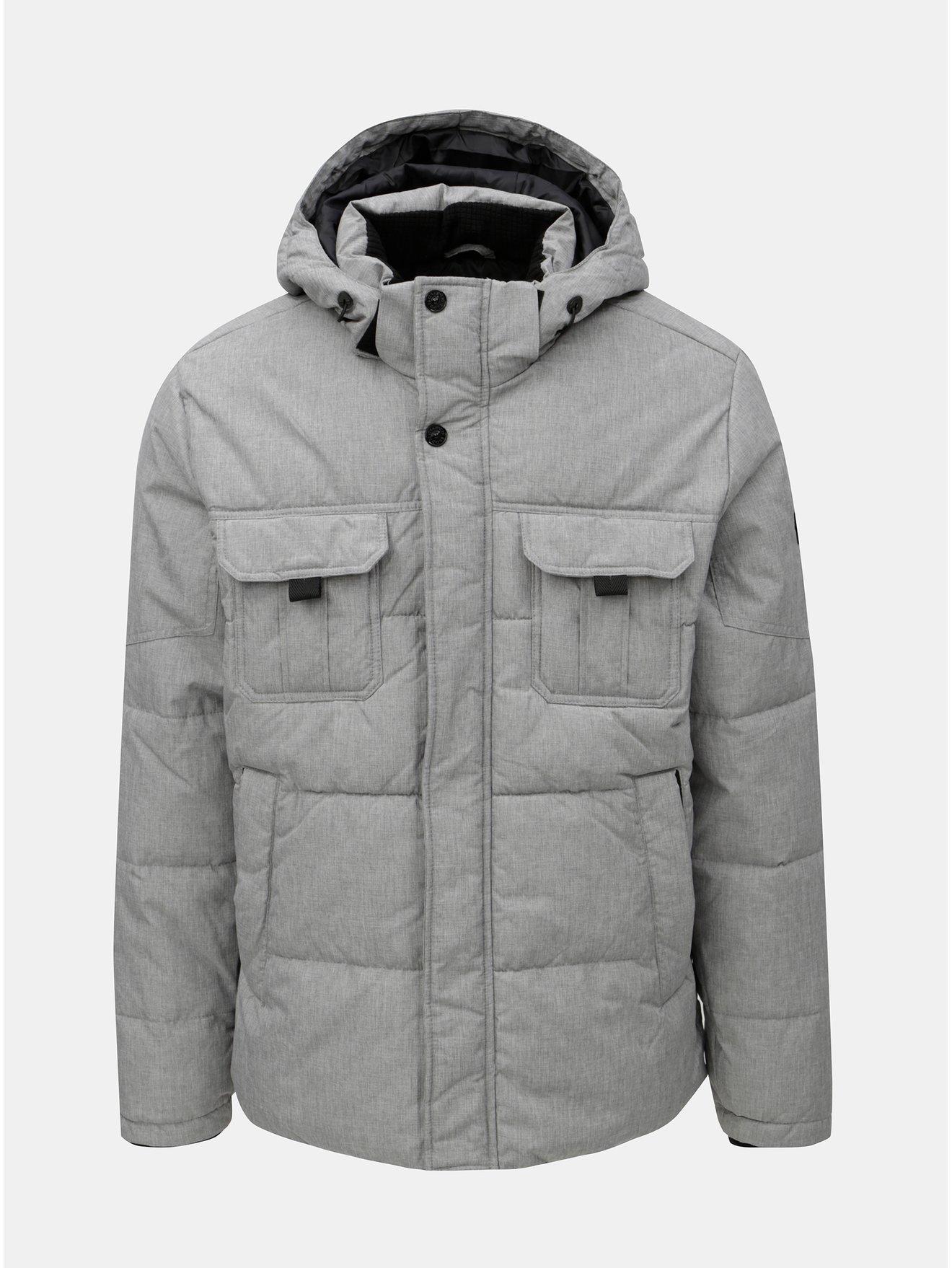 Šedá žíhaná prošívaná bunda Jack   Jones New Will 6007db8e500
