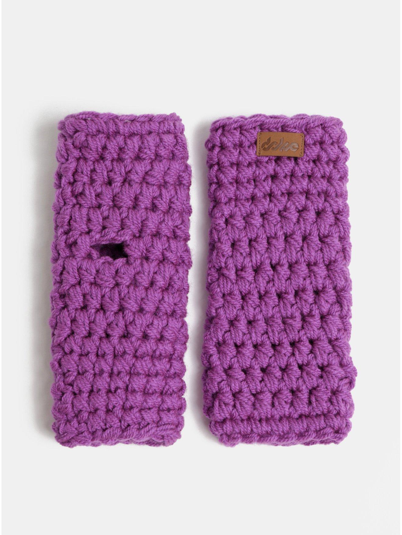 Fialové pletené návleky na ruky DOKE
