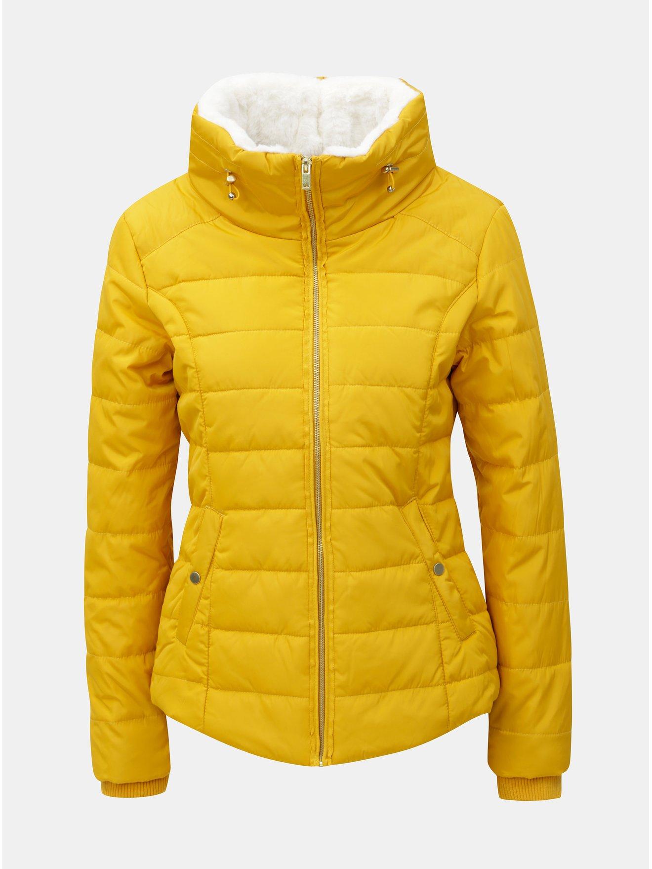 Žltá zimná prešívaná bunda s vysokým golierom Dorothy Perkins d1ff98b25a1