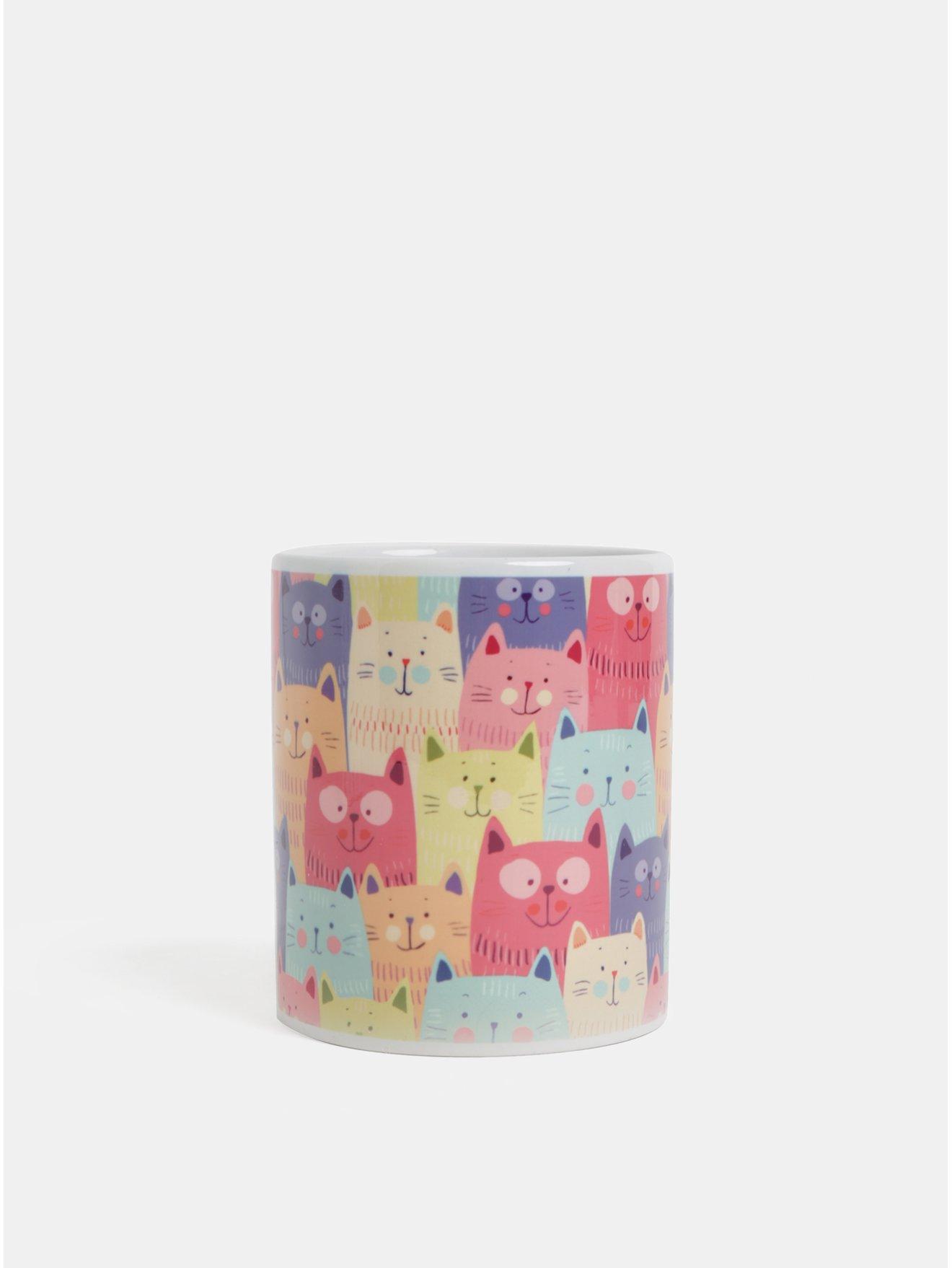 Fialovo–ružový hrnček s motívom mačiek Butter Kings