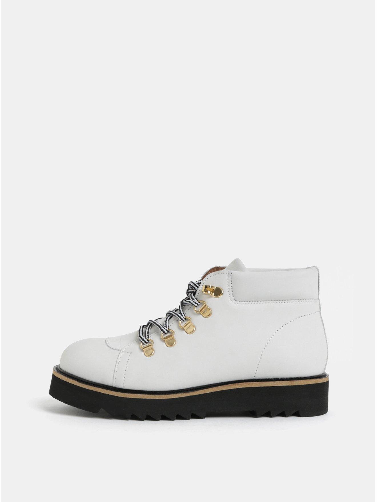Bílé kožené kotníkové boty Selected Femme Mira