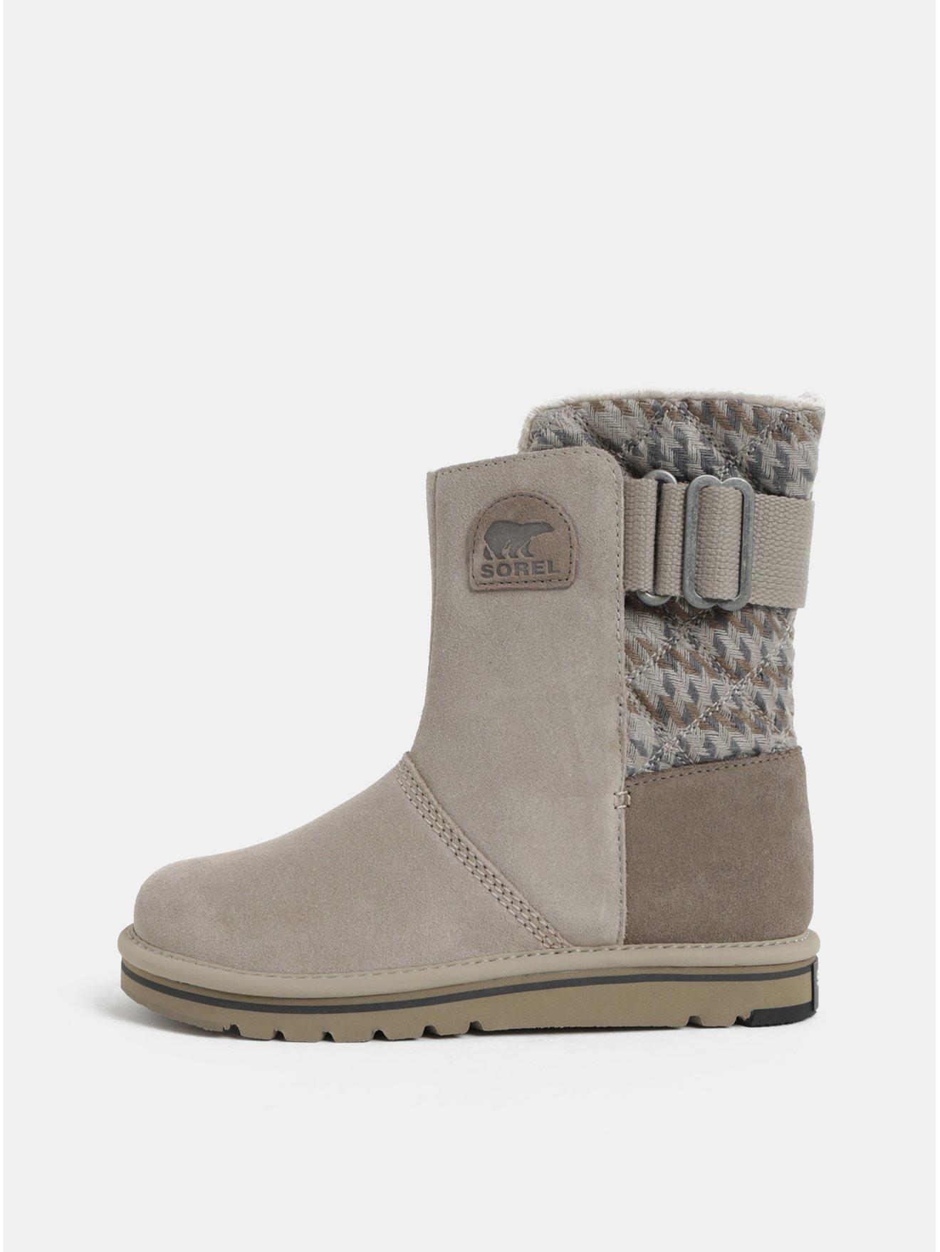 69c39d16a8 Sivé dámske semišové zimné topánky SOREL Newbie