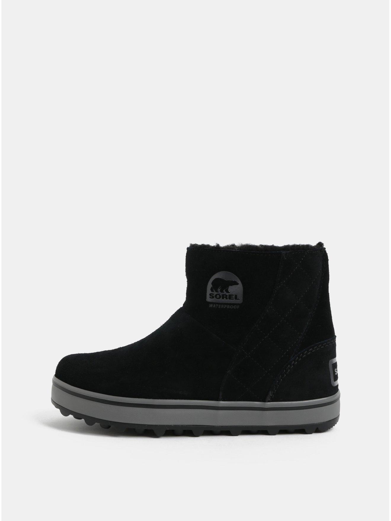 9c148a135e8a7 Čierne dámske semišové zimné nepremokavé topánky SOREL Glacy Short