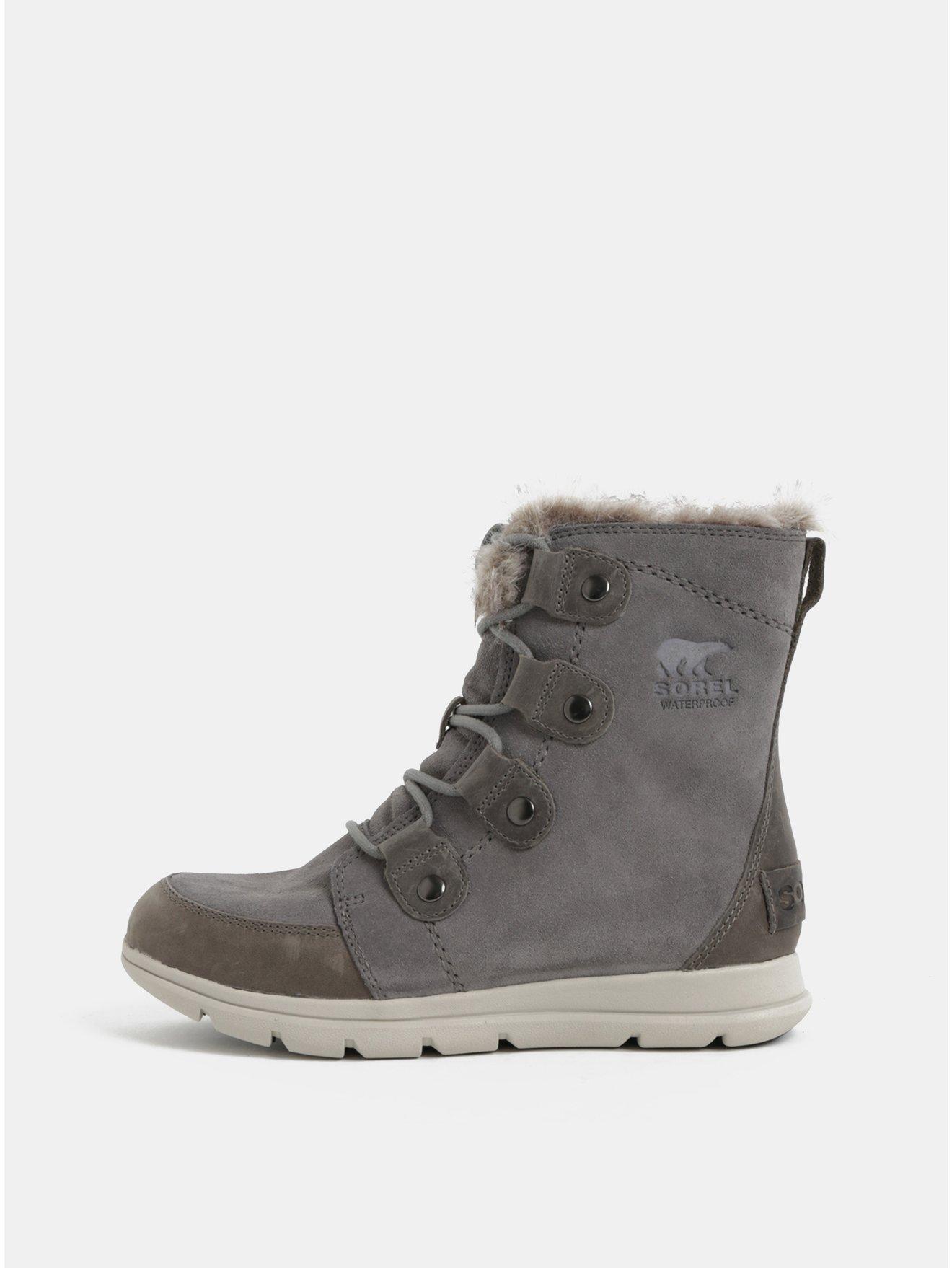 Šedé dámské semišové voděodolné zimní boty SOREL Explorer Joan