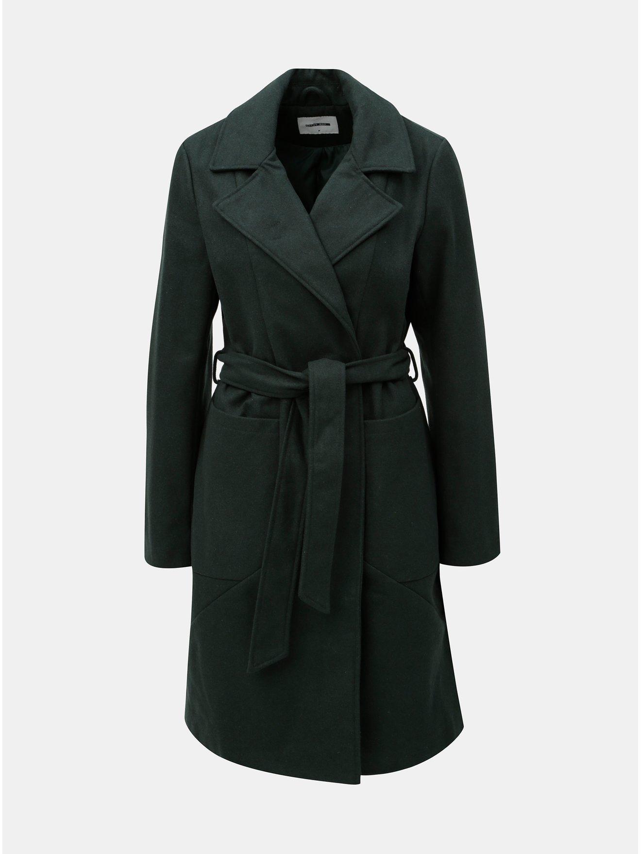 Tmavě zelený kabát na zavazování Noisy May Dido