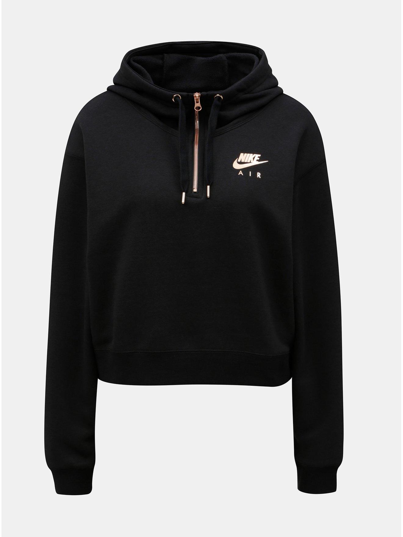 Černá dámská volná zkrácená mikina s kapucí Nike