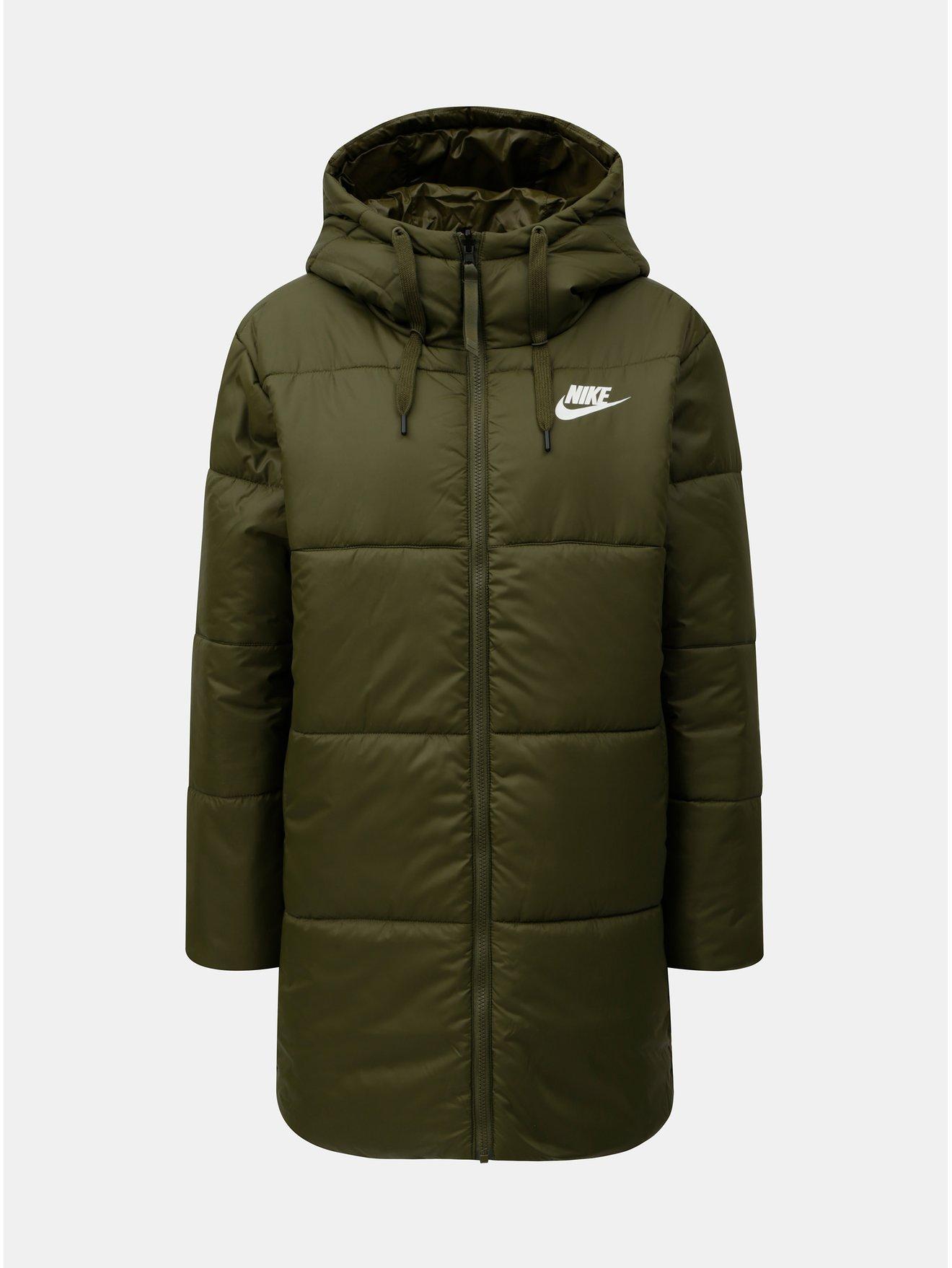 Khaki dámský oboustranný zimní kabát Nike Fill