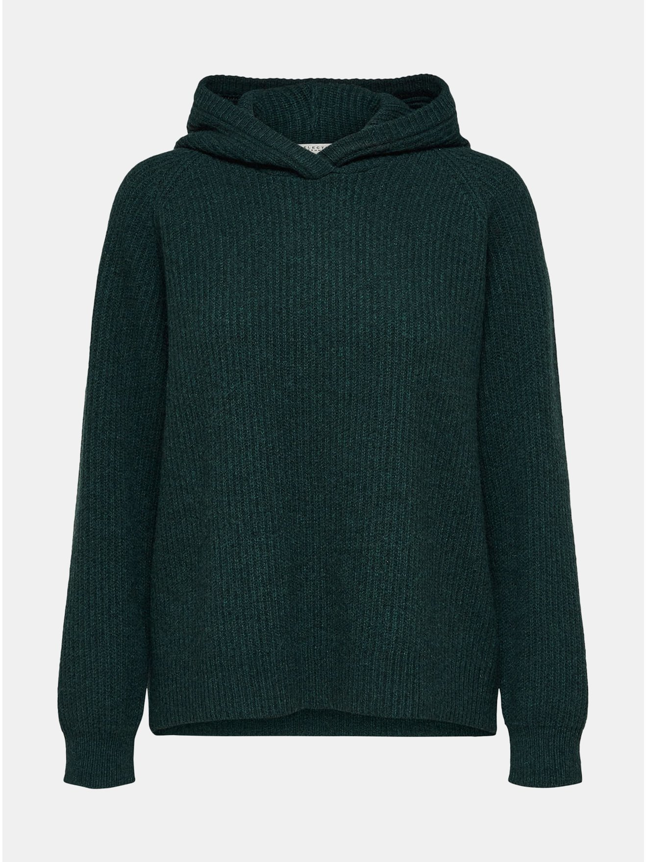 Tmavě zelený volný vlněný svetr s kapucí Selected Femme Kenna f5e517a6f7
