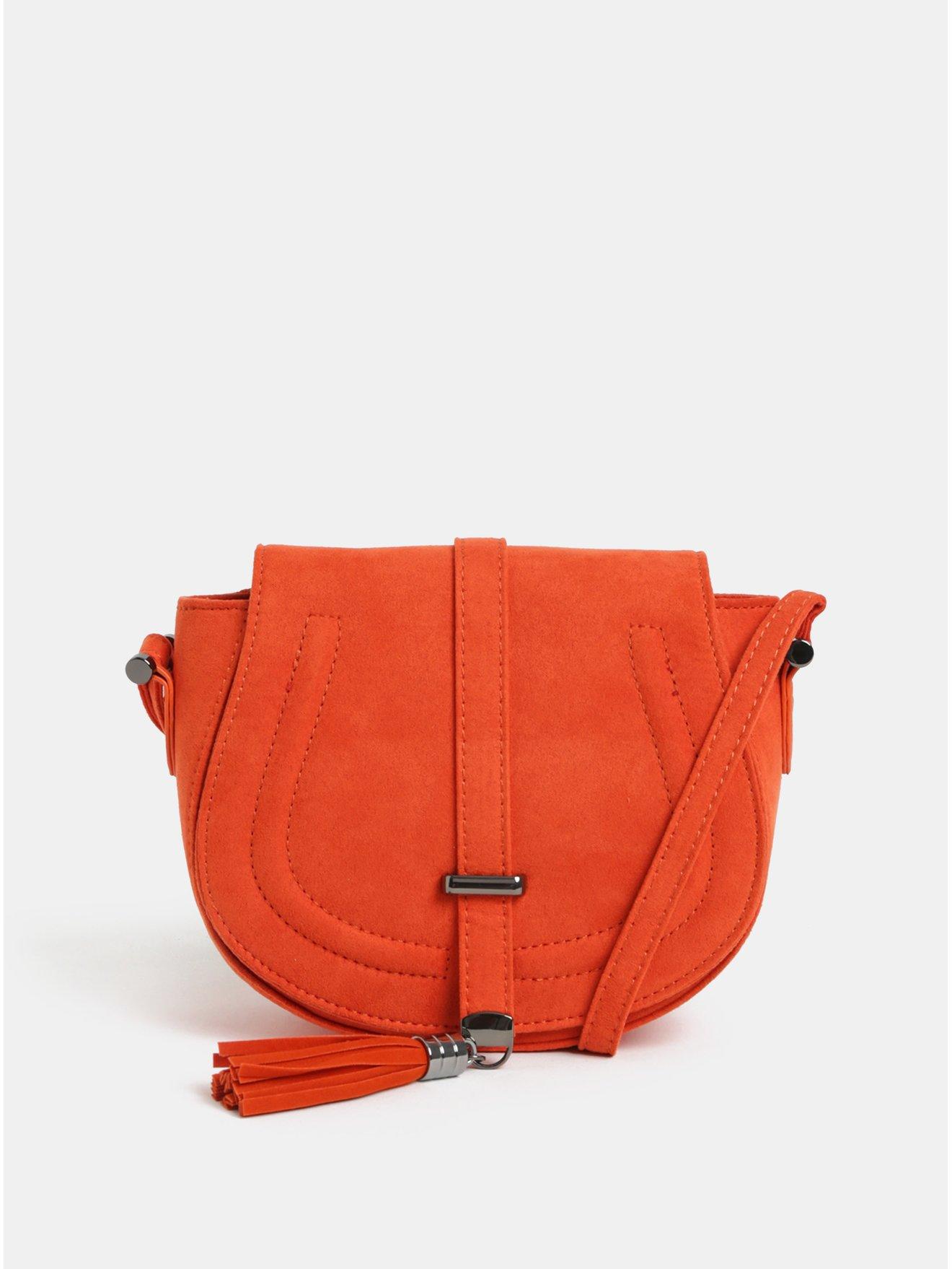 Oranžová crossbody kabelka v semišové úpravě s třásní Dorothy Perkins