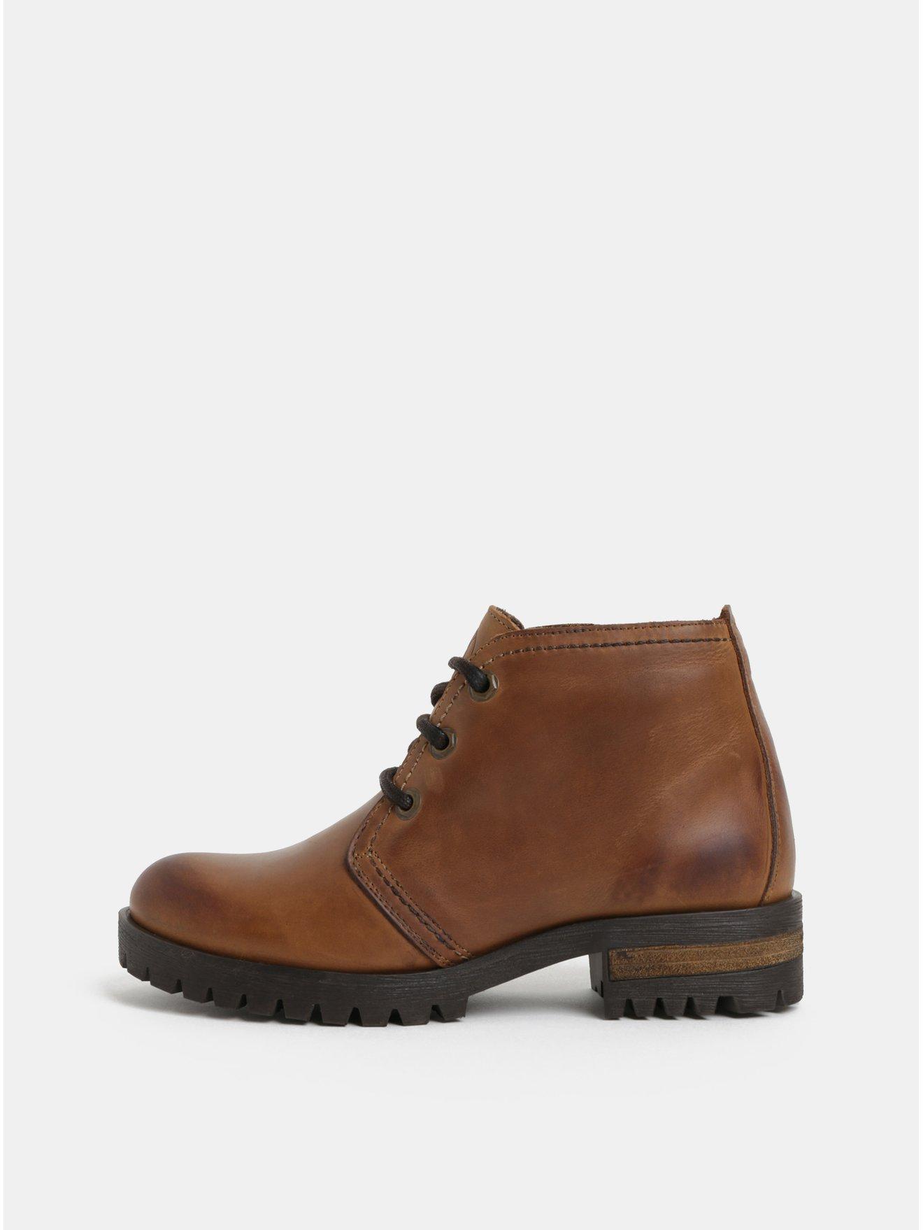 a6bb2f151e27 Hnedé členkové kožené topánky OJJU