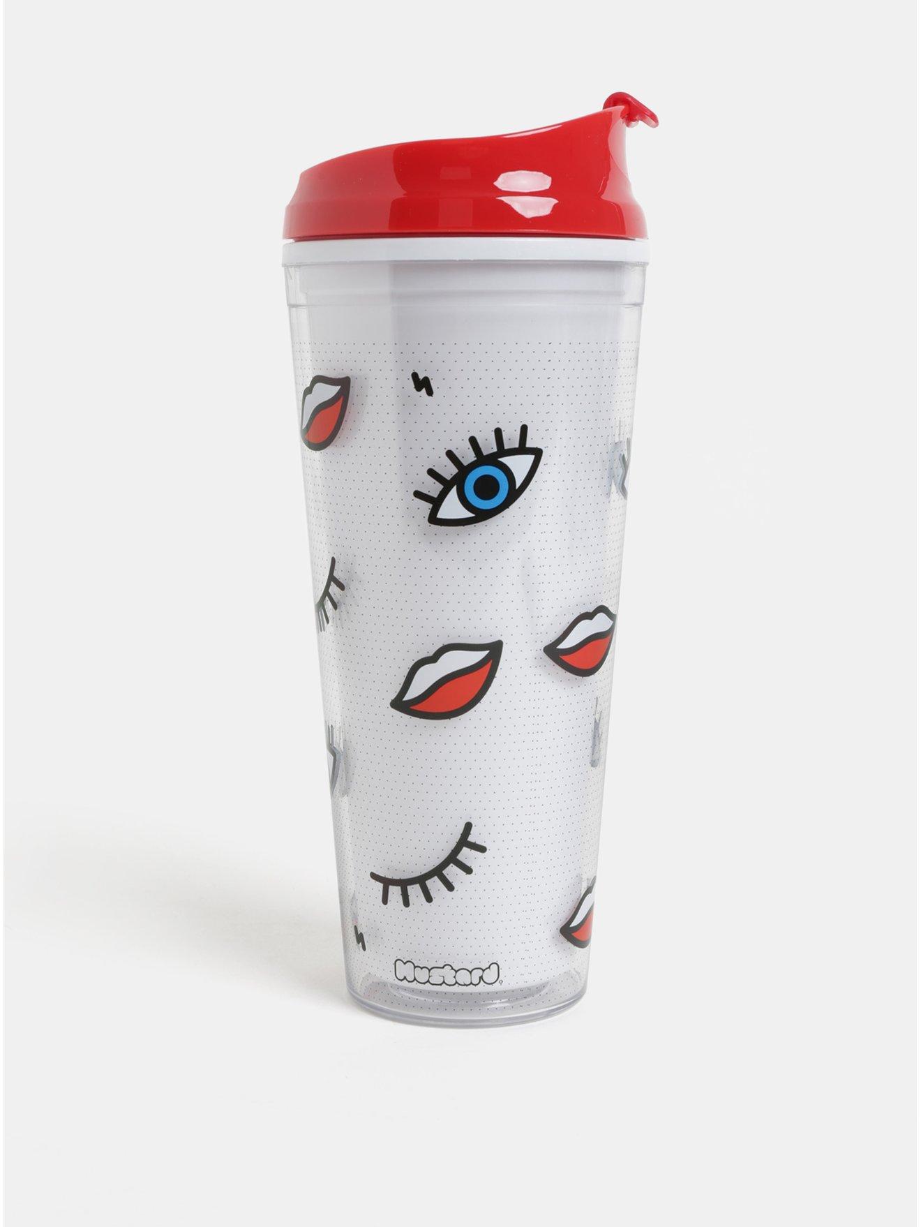 Červeno–biely cestovný hrnček s motívom očí a pier Mustard