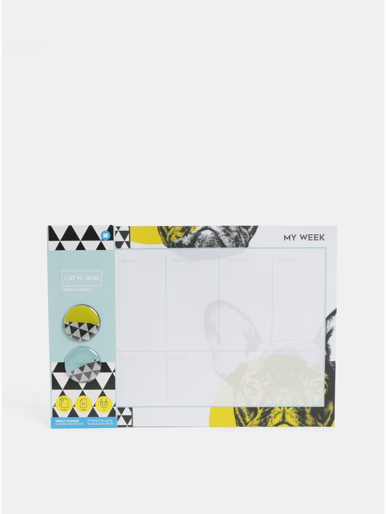 Černo-bíly plánovací blok A4 s motivem psů a se dvěma magnety Mustard