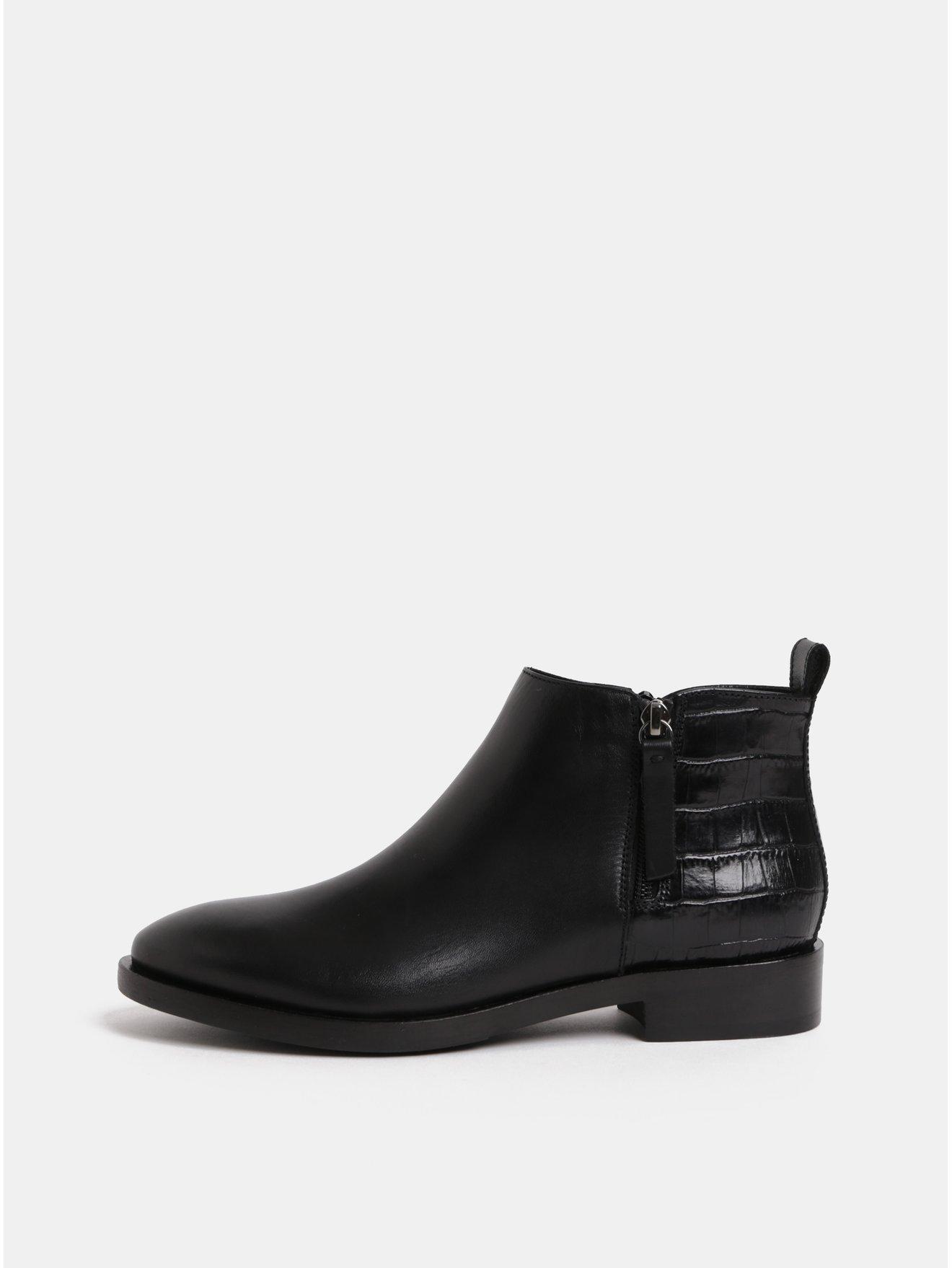 6019d25c6 Čierne dámske kožené členkové topánky so zipsmi Geox Brogue