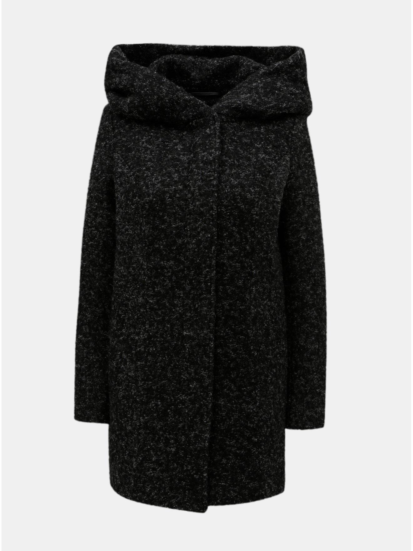 Fotografie Černý žíhaný kabát s příměsí vlny VERO MODA Verodona
