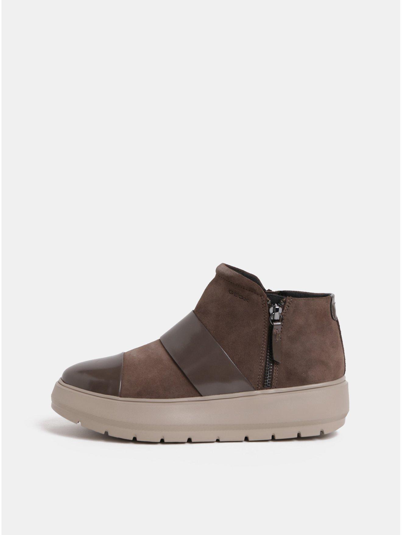 Hnědé dámské semišové kotníkové boty na platformě Geox Kaula