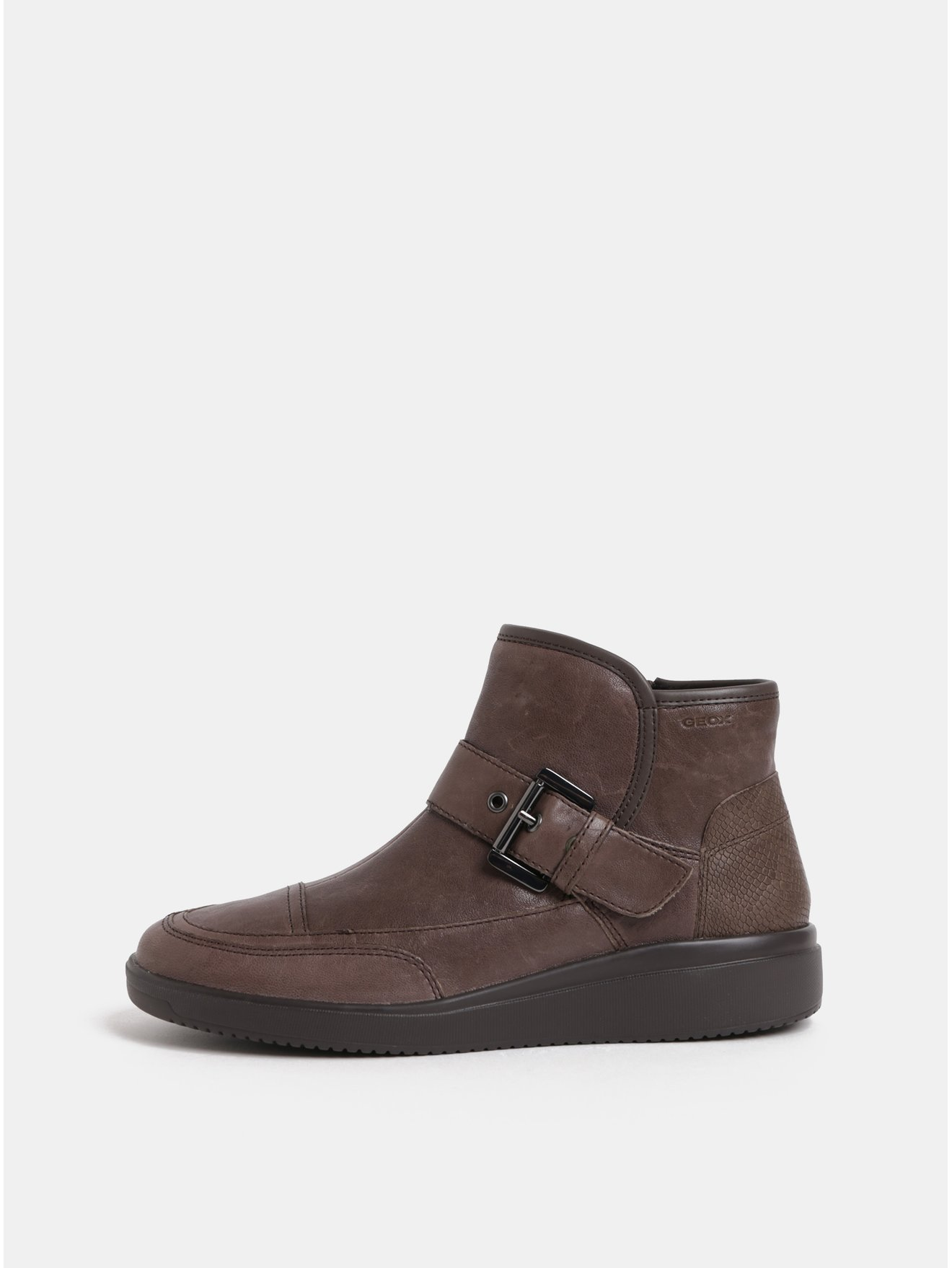 cf07cdf61c Hnedé dámske kožené členkové topánky s remienkom Geox Tahina