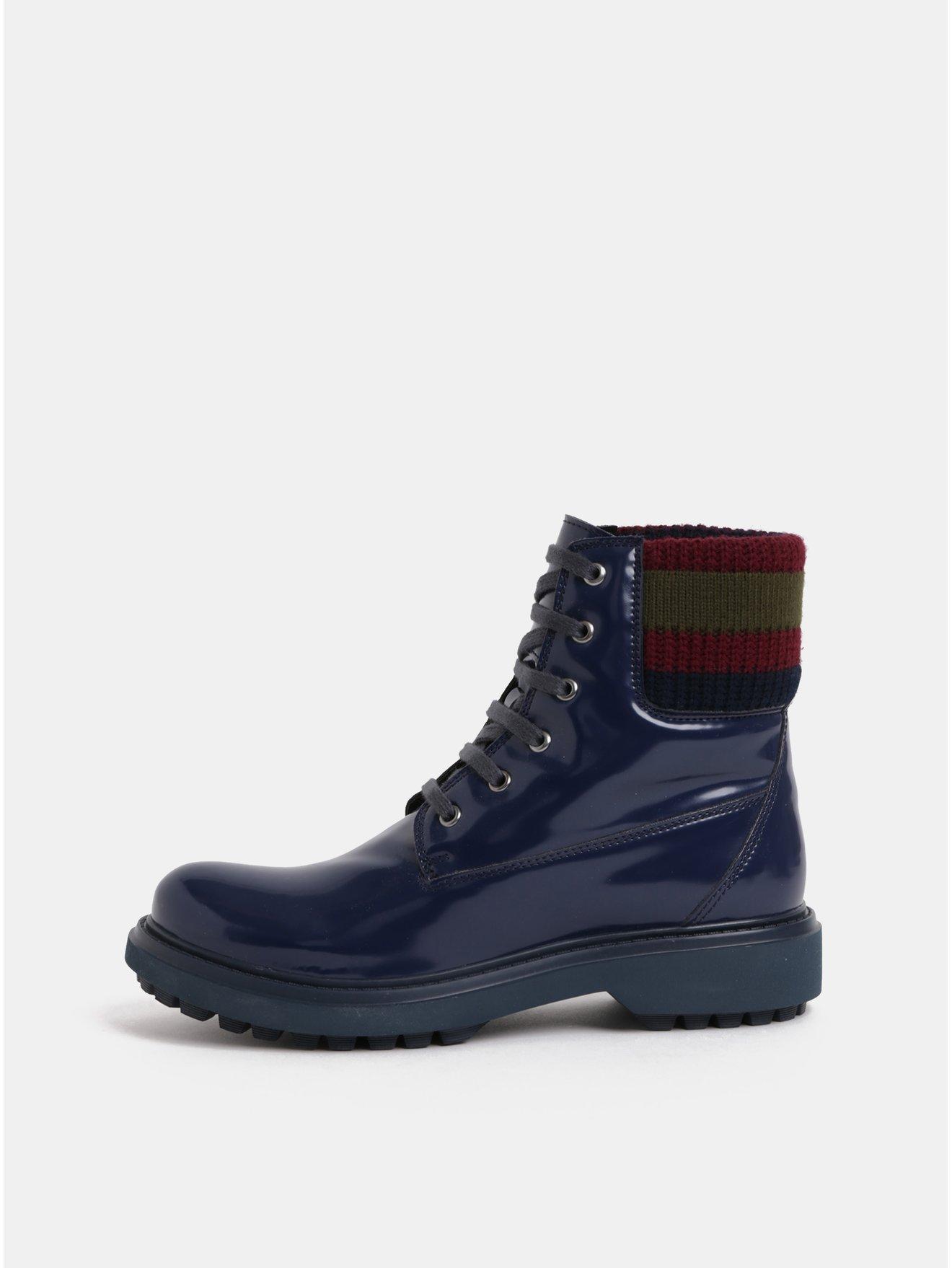 Tmavě modré dámské kotníkové boty s úpletovým lemem Geox Asheely 47b7df1a5d